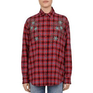 The Kooples Plaid Beaded Button Down Shirt